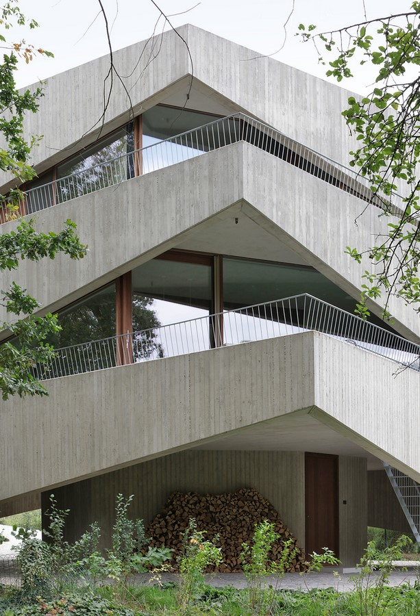 Belgian House Featuring Asymmetrical Angled Concrete Canopies designed by GRAUX & BAEYENS Architecten - Sheet6